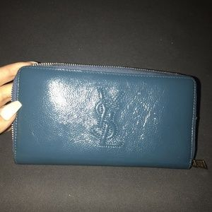 YSL Turquoise Teal Blue Wallet - never used